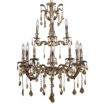 Classique 12 Light Crystal Chandelier Light Fixture in Sierra Bronze Finish with Golden Teak French Cut Crystals - Joshua Marshal 700119-004