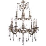 Classique 12 Light Crystal Chandelier Light Fixture in Sierra Bronze Finish with Clear European Tear Drop Crystals - Joshua Marshal 700119-006