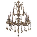Classique 12 Light Crystal Chandelier Light Fixture in Sierra Bronze Finish with Golden Teak Tear Drop Crystals - Joshua Marshal 700119-008