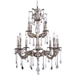Classique 12 Light Crystal Chandelier Light Fixture in Pewter Finish with Clear Swarovski French Cut and European Crystals - Joshua Marshal 700119-010