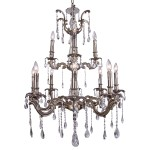 Classique 12 Light Crystal Chandelier Light Fixture in Pewter Finish with Clear European Tear Drop Crystals - Joshua Marshal 700119-013