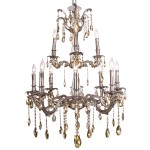 Classique 12 Light Crystal Chandelier Light Fixture in Pewter Finish with Golden Teak Tear Drop Crystals - Joshua Marshal 700119-016
