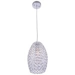 1 Light Round Shape Crystal Mini Pendant Light in Chrome Finish with Crystal - Joshua Marshal 7011-001
