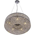 5 Light Round Crystal Pendant Light in Chrome Finish with Clear Crystal - Joshua Marshal 7013-001