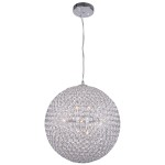 8 Light Round Crystal Pendant Light in Chrome Finish with Clear Crystal - Joshua Marshal 7014-001