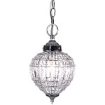 1 Light Beaded Crystal Mini Pendant Light in Chrome Finish with Clear Crystal - Joshua Marshal 7023-001