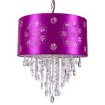 1 Light Crystal Pendant Light in Chrome Finish with Purple Shade and Crystals  - Joshua Marshal 7035-001