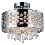 4 Light Shaded Crystal Pendant Flush Mount Light in Chrome Finish with Crystals  - Joshua Marshal 7038-001