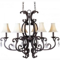 Six Light Colonial Umber Up Mini Chandelier - Maxim 31009CU/CRY083