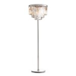 Odeon 8 Light Clear Crystal Glass Fringe Floor Lamp Light Fixture in Polished Nickel Finish - Restoration Revolution 700132-004