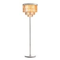 Odeon 8 Light Golden Teak Glass Fringe Floor Lamp Light Fixture in Polished Nickel Finish - Restoration Revolution 700132-005