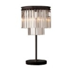 Odeon 3 Light Clear Glass Fringe Table Lamp Light Fixture in Java Brown Finish - Restoration Revolution 700133-001