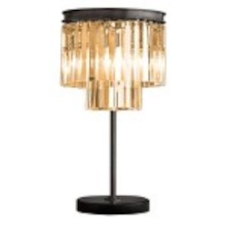Odeon 3 Light Silver Shade Galss Fringe Table Lamp Light Fixture in Java Brown Finish - Restoration Revolution 700133-005