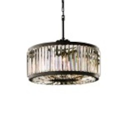 Welles 8 Light Clear Crystal Round Chandelier Light Fixture in Java Brown Finish - Restoration Revolution 700142-001