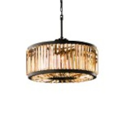 Welles 8 Light Golden Teak Smokey Crystal Round Chandelier Light Fixture in Java Brown  - Restoration Revolution 700142-002