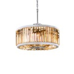 Welles 8 Light Golden Teak Smoke Crystal Round Chandelier Light Fixture in Polished Nickel Finish   - Restoration Revolution 700142-005
