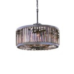 Welles 8 Light Silver Shade Grey Crystal Round Chandelier Light Fixture in Polished Nickel Finish   - Restoration Revolution 700142-006