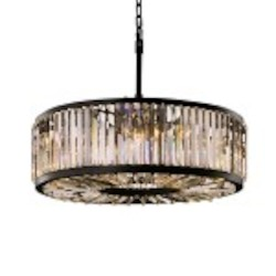 Welles 10 Light Clear Crystal Round Chandelier Light Fixture in Java Brown Finish - Restoration Revolution 700143-001