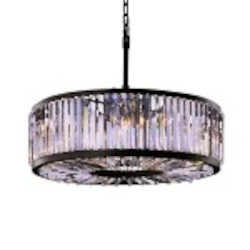 Welles 10 Silver Shade Grey Crystal Round Chandelier Light Fixture in Java Brown Finish  - Restoration Revolution 700143-003