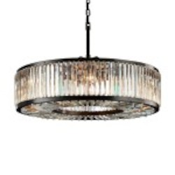 Welles 10 Light Clear Crystal Round Chandelier Light Fixture in Java Brown Finish - Restoration Revolution 700145-001