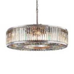 Welles 10 Light Clear Crystal Round Chandelier Light Fixture in Polished Nickel Finish - Restoration Revolution 700145-004