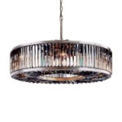 Welles 10 Light Silver Shade Grey Crystal Round Chandelier Light Fixture in Polished Nickel Finish - Restoration Revolution 700145-006