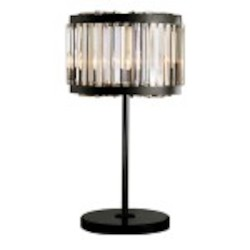 Welles 4 Light Clear Crystal Table Lamp Light Fixture in Java Brown Finish - Restoration Revolution 700146-001