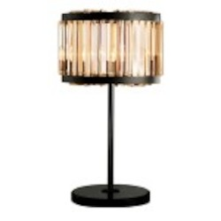 Welles 4 Light Golden Teak Crystal Table Lamp Light Fixture in Java Brown Finish  - Restoration Revolution 700146-002