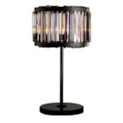 Welles 4 Light Silver Shade Grey Crystal Table Lamp Light Fixture in Java Brown Finish   - Restoration Revolution 700146-003