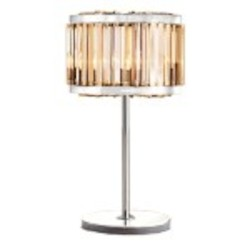 Welles 4 Light Golden Teak Smoke Crystal Table Lamp Light Fixture in Polished Nickel Finish  - Restoration Revolution 700146-005
