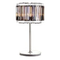 Welles 4 Light Silver Shade Grey Crystal Table Lamp Light Fixture in Polished Nickel Finish - Restoration Revolution 700146-006