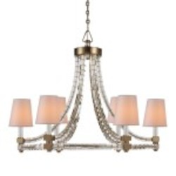 6 Light Chandelier Light Fixture with Burnished Brass Finish