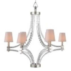 Crystal Cube 6 Light Chandelier Light Fixture with Polished Nickel Finish - Restoration Revolution 700160-002