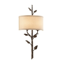 Two Light Bronze Leaf Wall Light