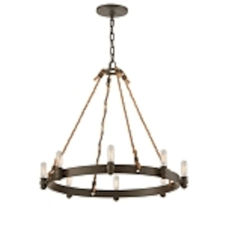"Pike Place Collection 8-Light 25"" Shipyard Bronze Chandelier with Natural Rope F3125"