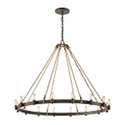 "Pike Place Collection 16-Light 42"" Shipyard Bronze Chandelier with Natural Rope F3127"