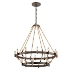 "Pike Place Collection 18-Light 33"" Shipyard Bronze Chandelier with Natural Rope F3128"