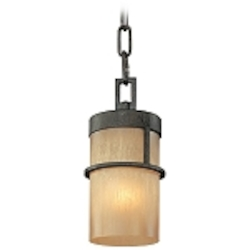 One Light Bamboo Bronze Down Mini Pendant