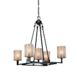 Five Light Antique Bronze Up Chandelier