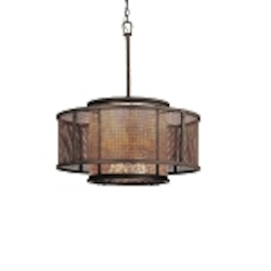 "Copper Mountain Collection 6-Light 26"" Bronze Mica Drum Chandelier F3105"