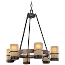 Six Light Bamboo Bronze Candle Chandelier