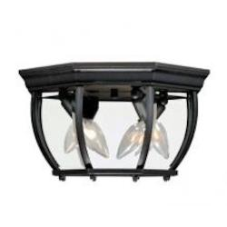 Three Light Black Clear Beveled Glass Outdoor Flush Mount - Savoy House 07038-BK