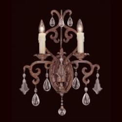 Two Light New Tortoise Shell Crystal Full Cut Clear Wall Light - Savoy House 9-1409-2-56