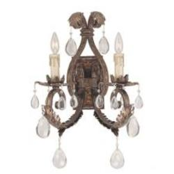 Two Light New Tortoise Shell W/Silver Crystal - Clear Wall Light - Savoy House 9-5317-2-8