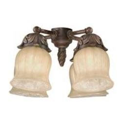 Four Light Autumn Gold Cream Ribbed Included Glass Fan Light Kit - Savoy House FLGC-705-AG