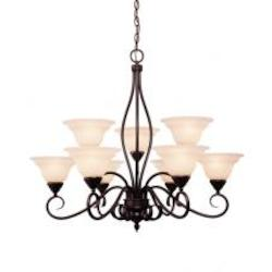 Nine Light English Bronze Cream Faux Alabaster Glass Up Chandelier - Savoy House KP-109-9-13