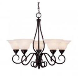 Five Light English Bronze Cream Faux Alabaster Glass Up Chandelier - Savoy House KP-94-5-13