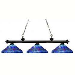 Three Light Bronze Multi Color Tiffany Glass Pool Table Light - Z-Lite 100703BRZ-D16-1