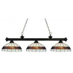 Three Light Bronze Multi Color Tiffany Glass Pool Table Light - Z-Lite 100703BRZ-F14-1