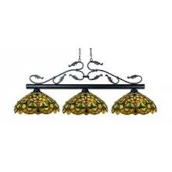 Three Light Bronze Multi Color Tiffany Glass Pool Table Light - Z-Lite 140BRZ-C14
